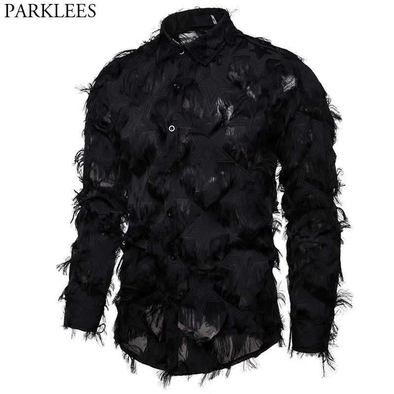 Sexy Black Feather Star Clubwear Shirt Men 2020 Stage Prom Dress Shirts Mens Party Dinner Event Prom Shirt Male Chemise Homme
