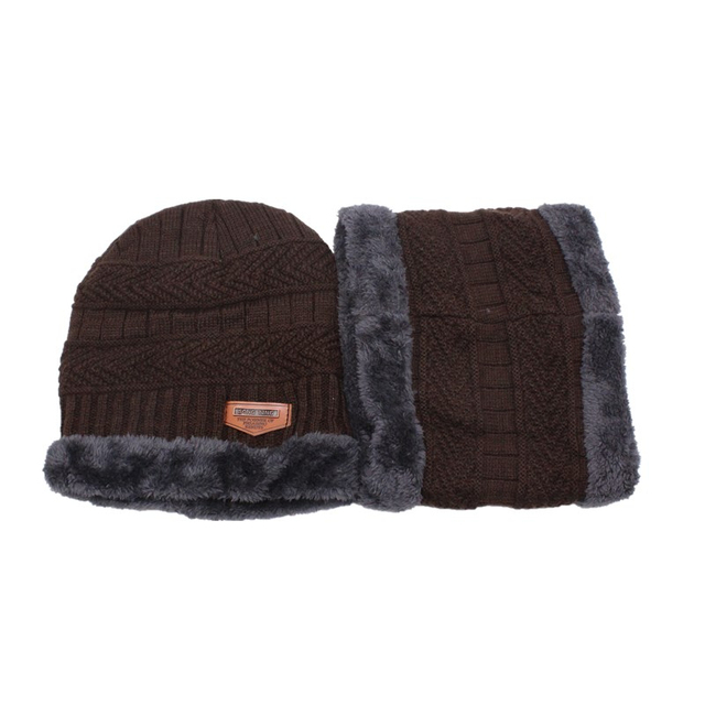 2019 new winter fashion casual knit hat men plus velvet thick warm cap outdoor windproof cold hats