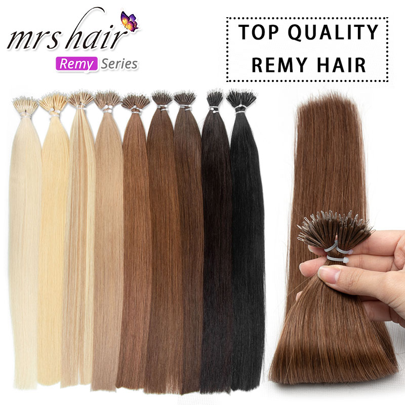 MRS HAIR Cuticles Remy Nano Rings Hair Extensions Micro Beads Keratin Capsules Steel Line Pre-Bonded Human Hair 14 18 22 inch