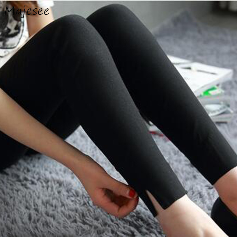 Leggings Women Long Black Split All-match Elegant Womens Sexy Trousers Korean Style Soft Casual Simple Daily Ladies Clothing New