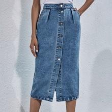 Fall Casual Pocket Straight Blue Jeans Skirt New 2021 Women Summer High Waist Single Breasted Knee Length Denim Skirt Streetwear