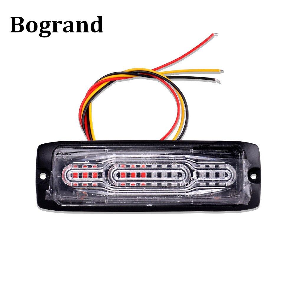 Bogrand LED Emergency Light Ultra-Thin Warning Flashing Lamp 12Led Ambulance Police Strobe Side Signal Car Light Assembly 12-24V
