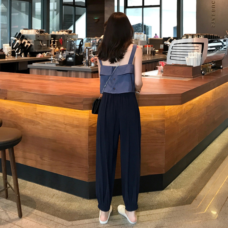 Online Celebrity Outfit Explicit Tall Cold Royal Sister Wind France Non-mainstream Very Fairy Hyuna Pendant Sense Loose Pants Tw