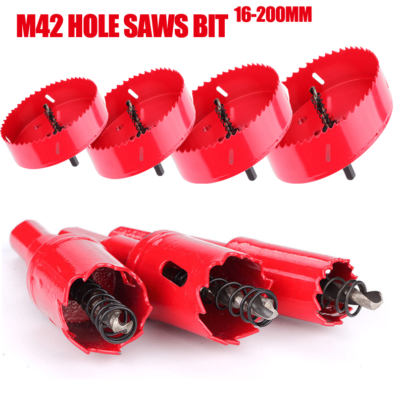 M42 16-200mm HSS Steel Drilling Hole Saw Drill Bit Cutter Bi-Metal For Aluminum Iron Stainless Steel DIY Wood Cutter Drill Bits
