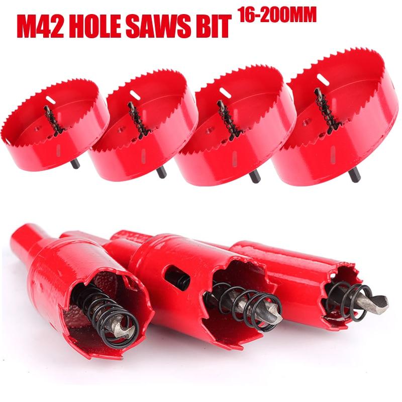 M42 16-200mm HSS Steel Drilling Hole Saw Drill Bit Cutter Bi-Metal For Aluminum Iron Stainless Steel DIY Wood Cutter Drill Bits