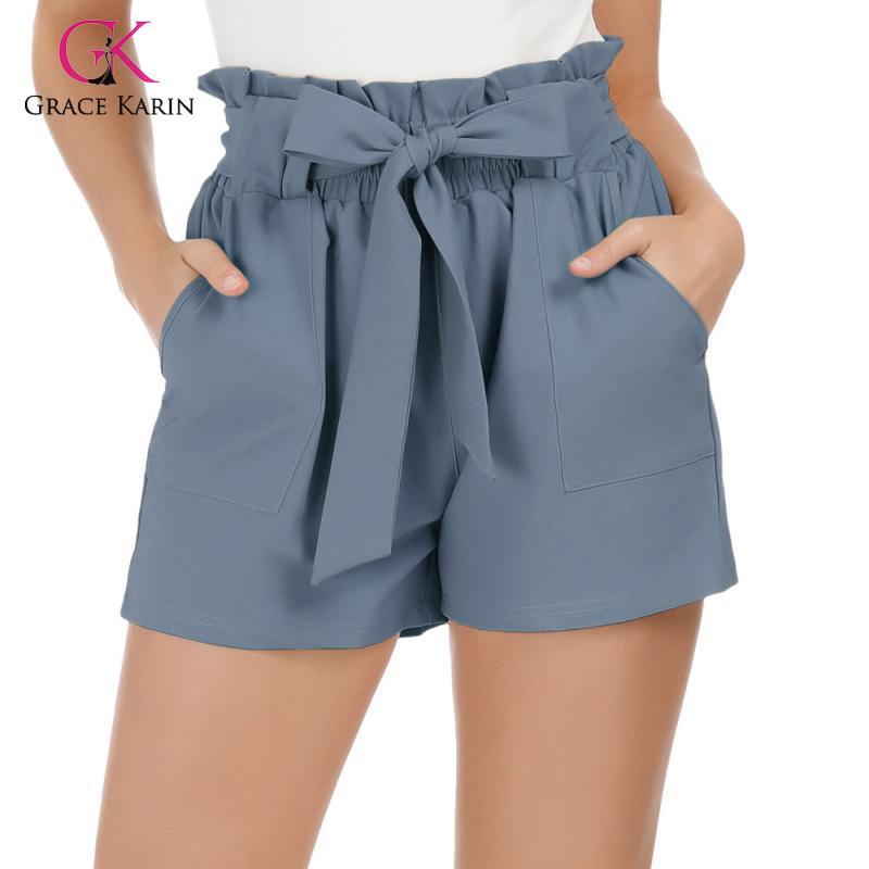 Grace Karin Women Casual Elastic High Waist Shorts Mini Short Pants Hot Summer Stylish Loose Beach Belt Short Trousers Feminino