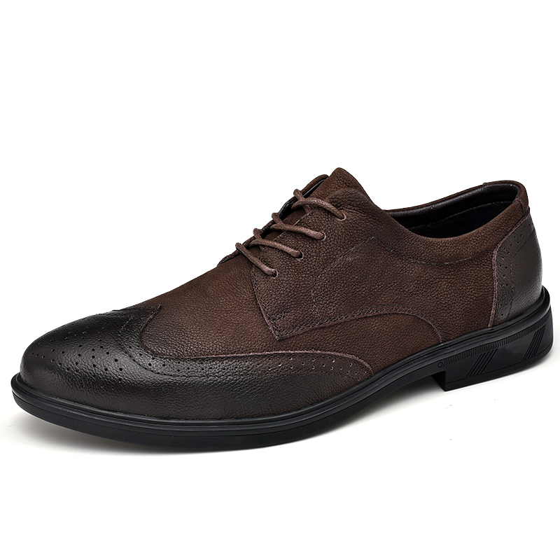 New Retro Bullock Design Men Classic Genuine Leather Business Formal Shoes Pointed Toe leather shoes Men Oxford Dress Shoes