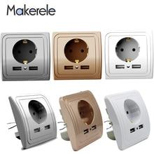 3 Colors Smart Home Adapter 16A EU Standard Outlet Electrical Plug Socket Power Outlet Panel 110~250V Wall Power Socket 16a 250v aluminum silver panel eu standard pop up floor socket electrical outlet