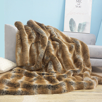 American style artificial fur bedside blanket,big size brown striped faux rabbit fur rug, pet blankets ,artificial fur blanket