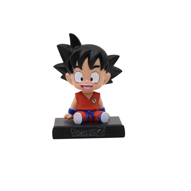 Anime dragon ball z son goku telefone suporte do carro decoração figura de ação pvc estatueta modelo brinquedo base móvel presente quente