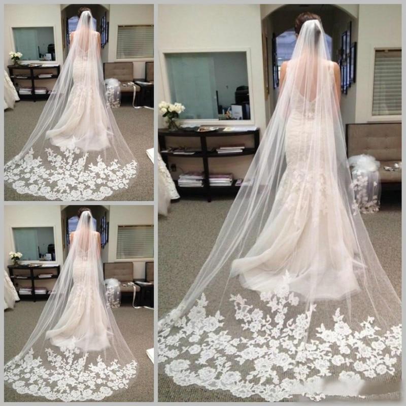 Luxury Long Veils Cheap Bridal Hair Accessories Chapel Length Lace Applique Edge Tulle Wedding Bridal Veils