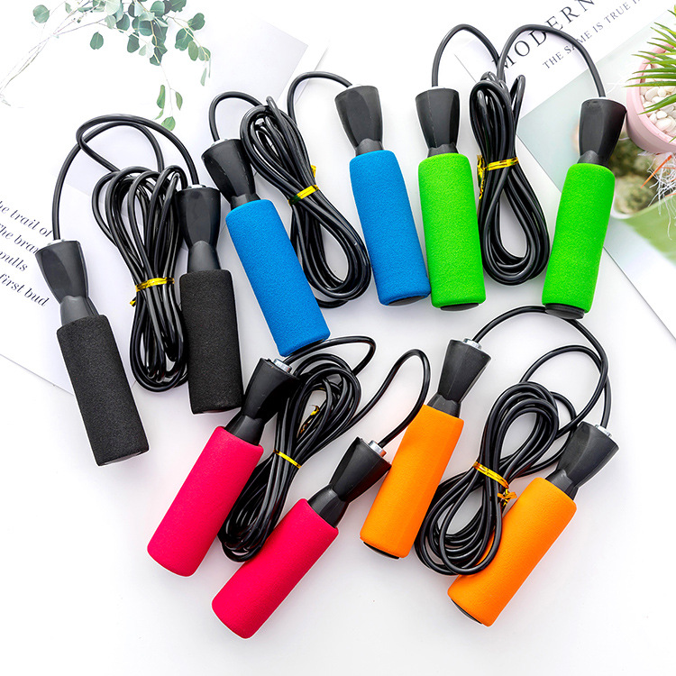 H542 Students Fitness Jump Rope Plastic Training Jump Rope Bearing Handle Jump Rope PVC Cord Steel Wire Jump Rope