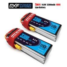 DXF-batería Lipo de control remoto de buena calidad, 4S de 14,8 V, 3300mah, 100C Max, 200C, para avión, Dron, Quadrotor, coche, barco, camión, Fpv, 2 uds.