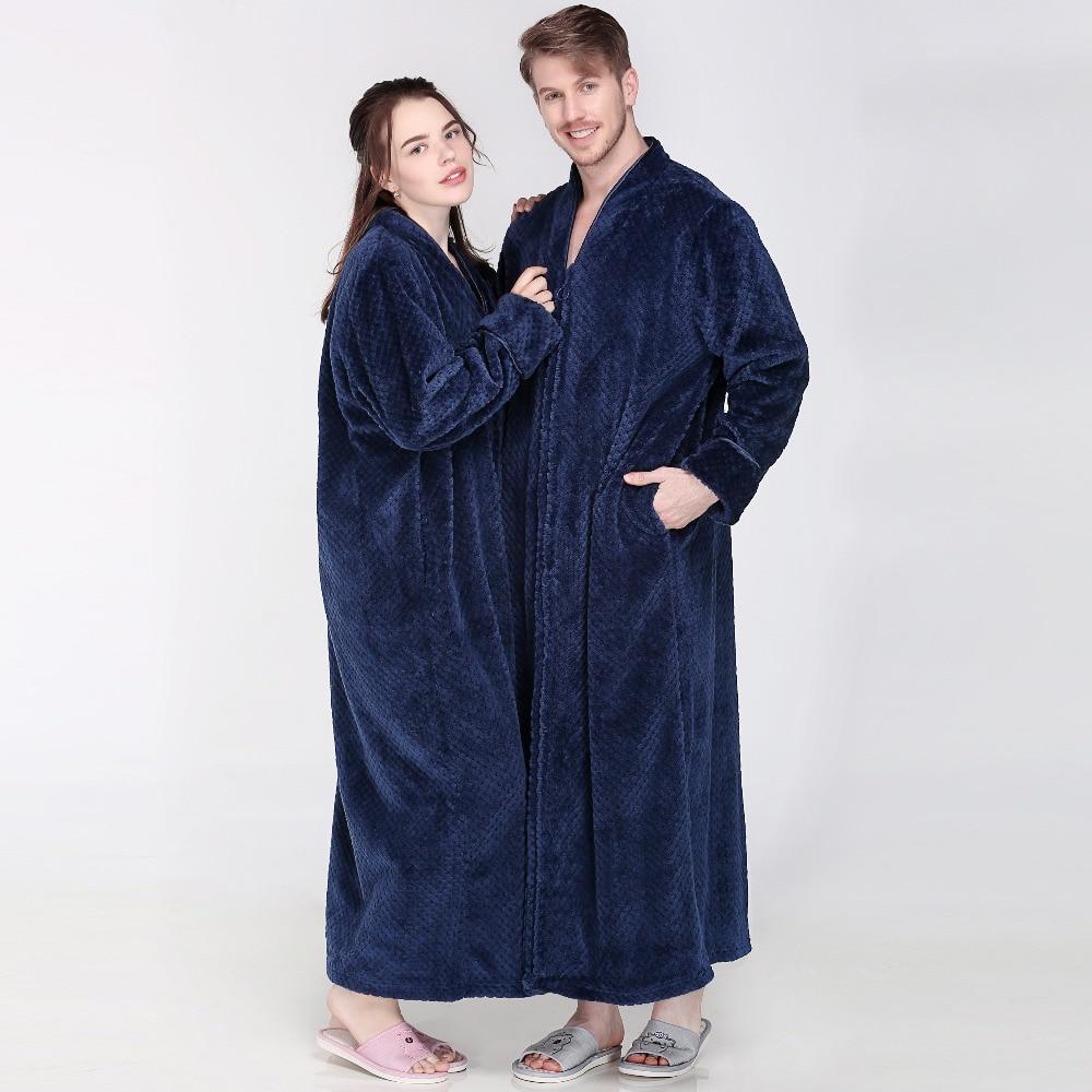 Image 3 - Women Winter Extra Long Thick Warm Bath Robe Plus Size Zipper Luxury Flannel Peignoir Pregnant Bathrobe Men Coral Fleece Robes-in Robes from Underwear & Sleepwears on AliExpress
