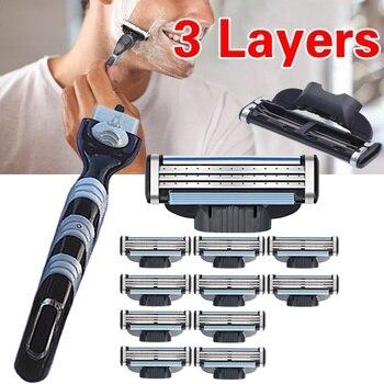 New High Quality 2PCS/6PCS/10PCS 1 handle  Blade Razor Blade Combo Razor Blade 3 Layer Razor Razor Facial Razor Razor for Men