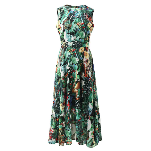 LD LINDA DELLA Elegant Summer Dress Women's Sleeveless High waist Vintage Animal Jungle Floral Print Elegant Midi Holiday Dress 6