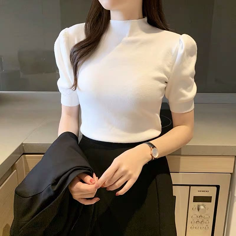 Half Turtleneck Knitted T-shirts Tops Woman Slim Short Puff Sleeve Buttons Soft Solid Autumn T-shirt Tee Female 4