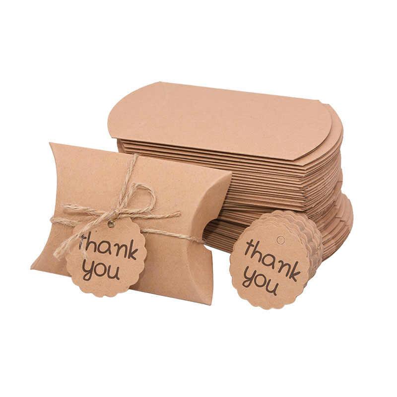 10//30Pcs Candy Box Kraft Paper Pillow Gift Boxes Wedding Party Favors Bags