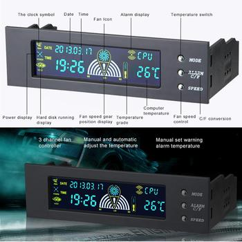 5.25 Inch Bay Front LCD Panel Display 3 Fan Speed Controller CPU Temperature Sensor Probes 5 - 90 celsius degree image
