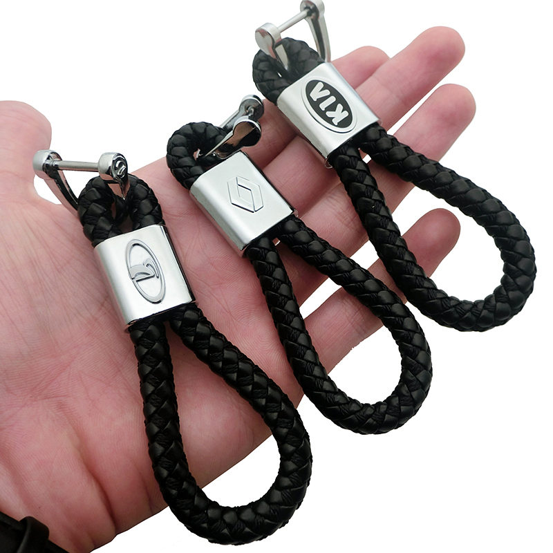 Braided Leather Black Cord Key Chains Car Logo Holder Silver Key Ring for V//W