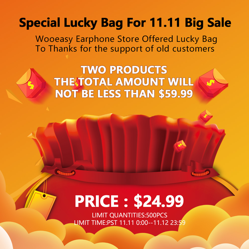 Wooeasy Earphone Store Offered Special Lucky Bag For 11.11 Big Sale To Thanks For All Customers