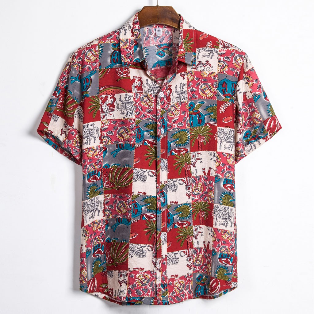 Men Ethnic Short Sleeve Hawaiian Casual Printed Shirt Blouse Plus Size M-3XL Shirts Camisa Social Masculina 2020 Summer Chemise