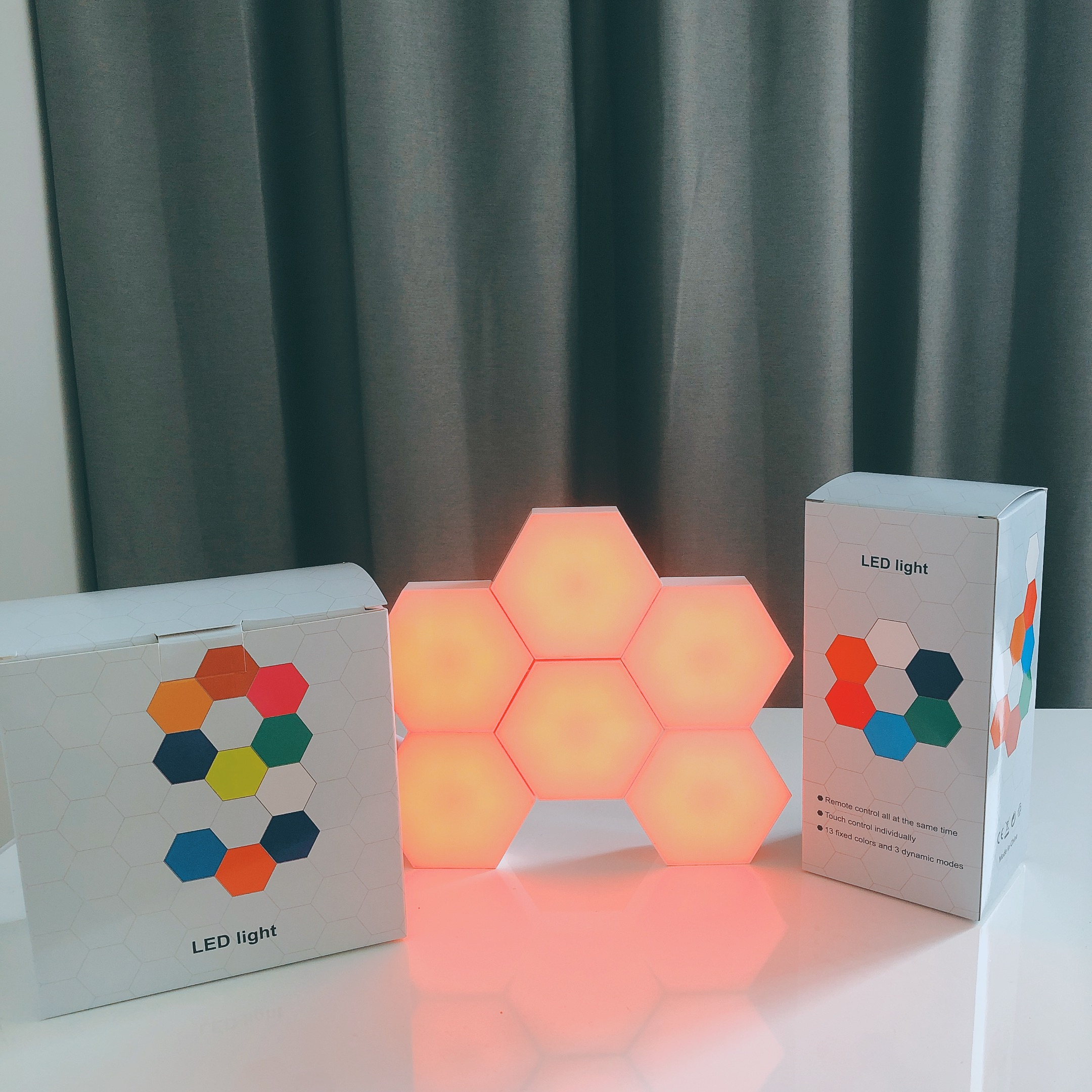 Lâmpada hexagonal rgb, lâmpada led sensível ao