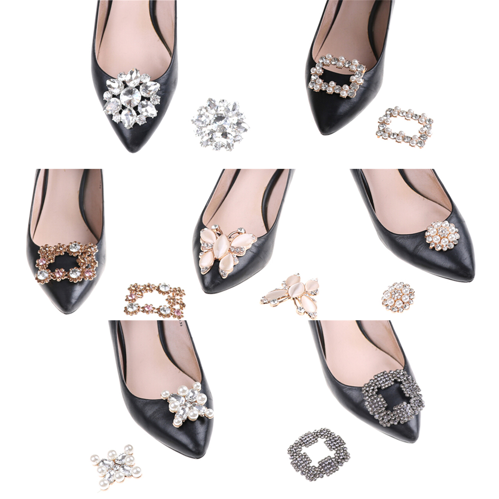 7Styles Crystal Shoe Clip Decoration Bridal Shoes Rhinestone Clip Buckle Faux Pearl Shoe Clips Decorative Accessories
