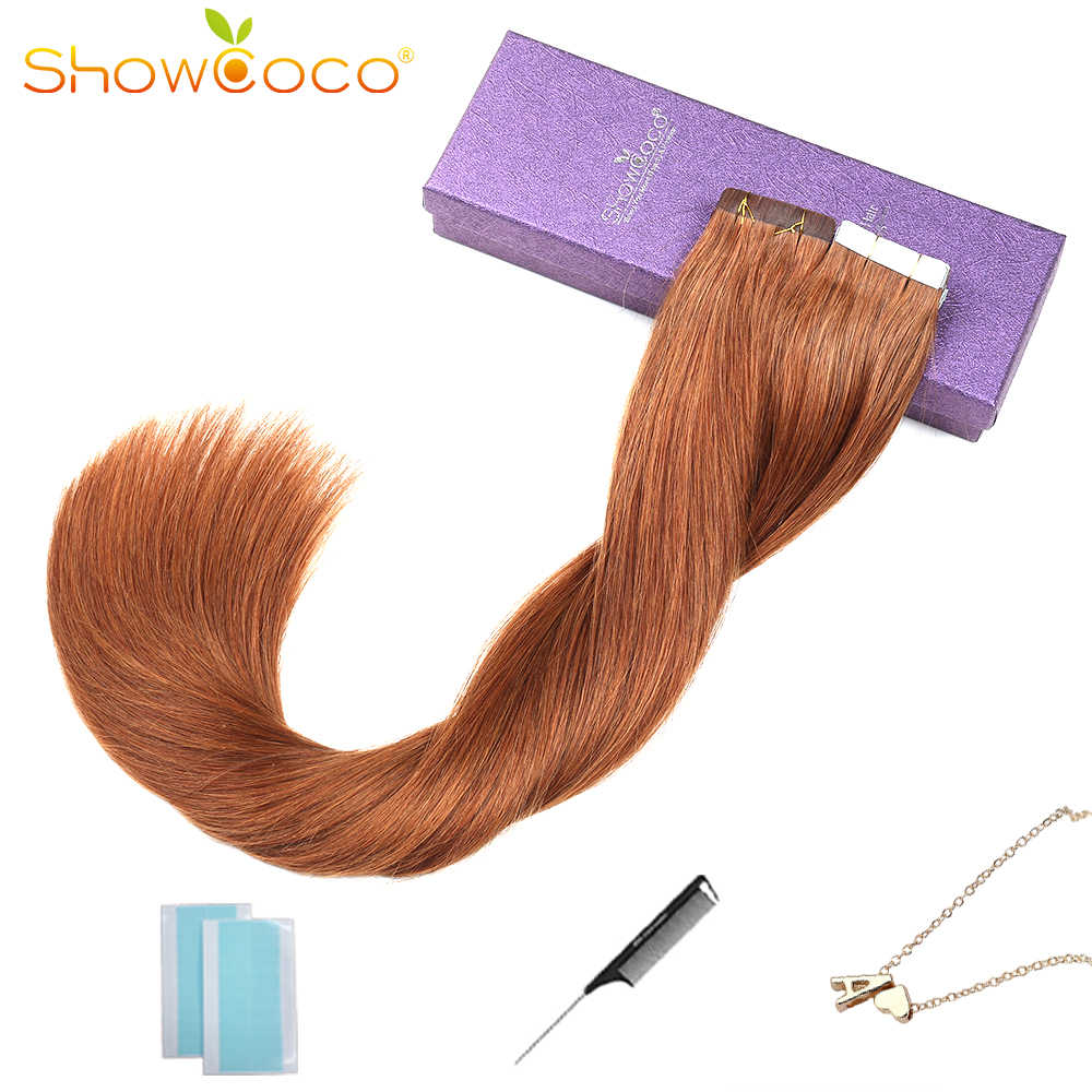 ShowCoco Tape in Real Human Hair Extensions Machine-made Remy Invisible Double Sided Blue Tape DarkColors for Thin Hair 20pc