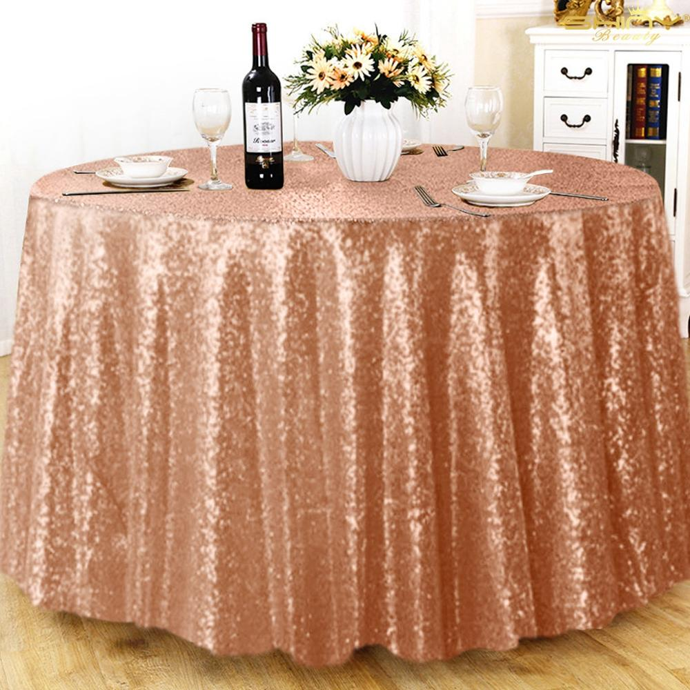 Rose Gold Sequin Tablecloth 120Inch For Wedding Party Banquet Christmas Round Table Cover Linen Glitter Cake Table Cloth-M0111