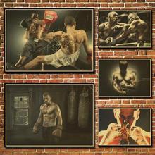 Película de acción estrella Kung Fu partido de boxeo Vintage póster de papel pintura de pared decoración del hogar 42X30 CM 30X21 CM