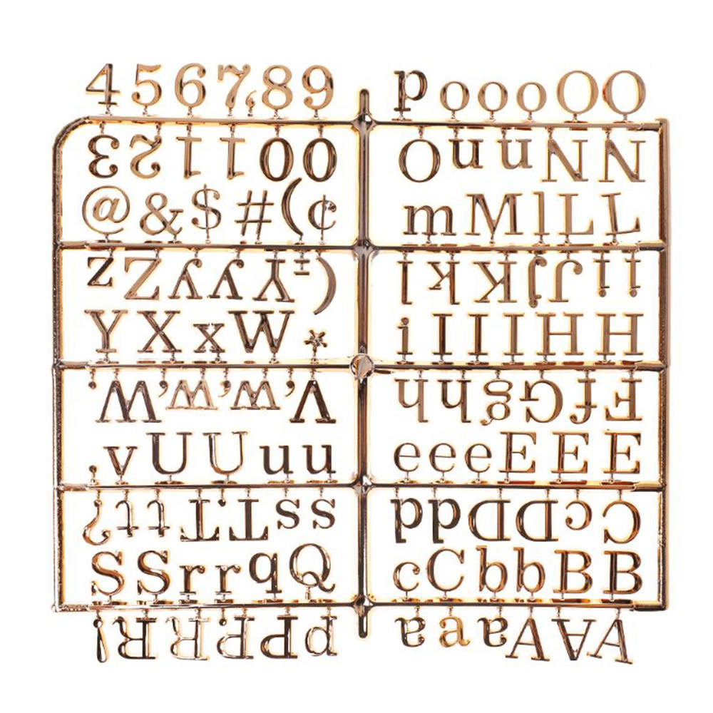 1 unidad de tablero de mensajes con caracteres dorados y plateados, tablero de mensajes con caracteres especiales, palabras para tablero de letras intercambiables