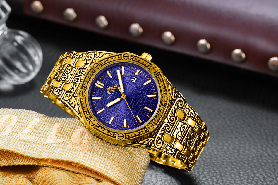 H525141743afb49afb014bab37c2a2f05K Men Carved Antique Vintage Luminous Rose Gold Yellow Gold Silver 2 Tones Fashion Blue Classic Quartz luxury watch