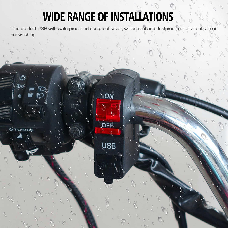 Mobil USB Charger Cover untuk Motor Auto Truk ATV Perahu 12V LED USB Soket Mount Charger Power Adapter 3 warna