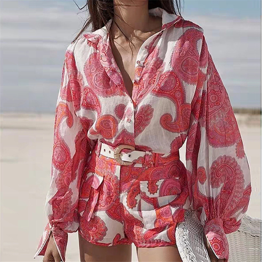 2020 2 Piece Sets Womens Outfits Long Sleeve Red Blouse And Fashion Shorts Two Piece Set Top And Shorts Flower Printed Set