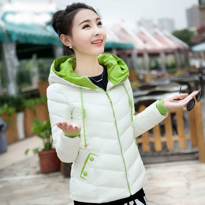 New Winter Jacket Women Parkas Thicken Outerwear Solid Hooded Coats Short Female Slim Cotton Padded Basic Tops High Quality D278