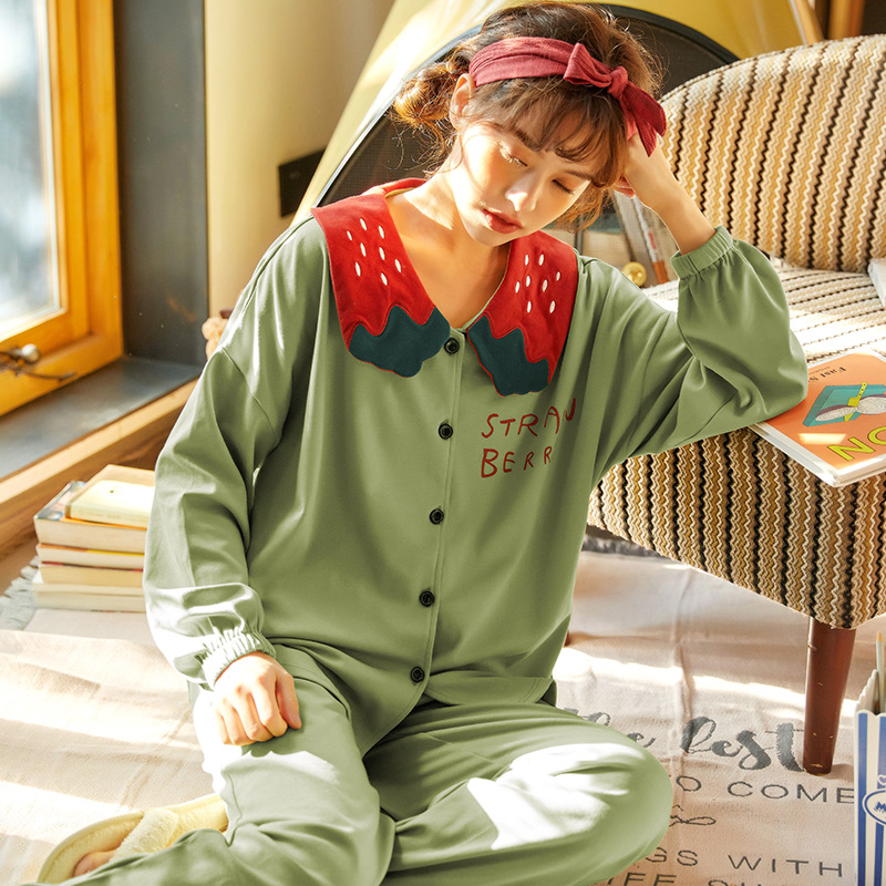Spring And Autumn Woman Pajamas Women Household Long Sleeve Cute Comfortabel Cotton Set