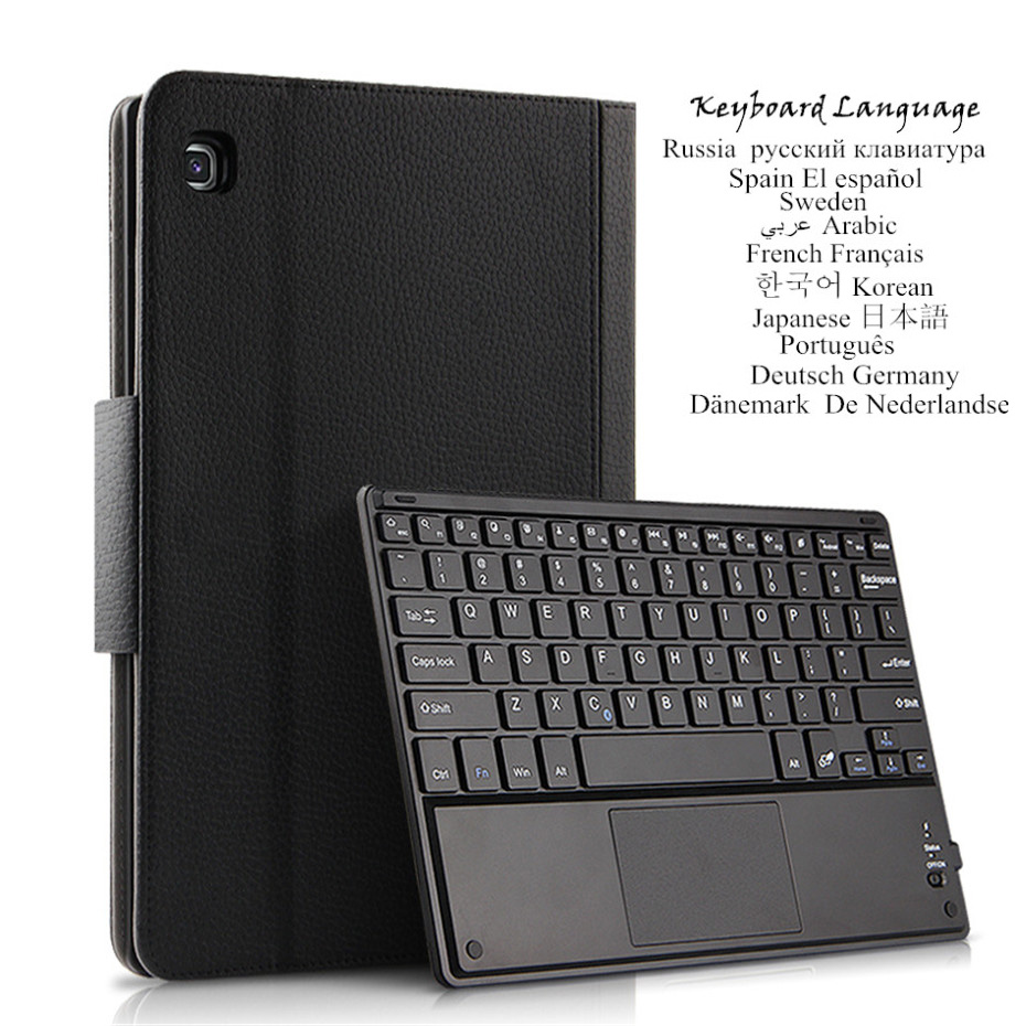 Leather Case For Samsung Galaxy Tab A 10.1 2019 SM-T510 T515 Case Wireless Bluetooth Keyboard Protective Leather Cover title=