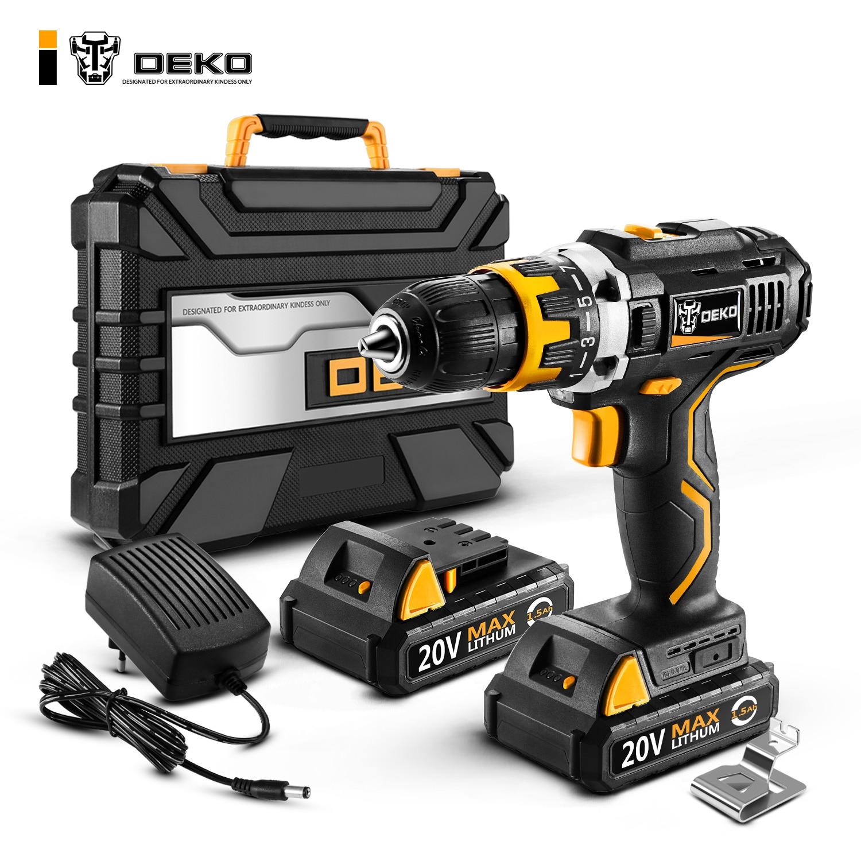 Deko gcd20du2 20 v max ferramenta elétrica com bateria de lítio de velocidade variável chave de fenda elétrica com luz led casa diy furadeira sem fio