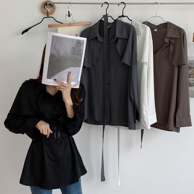 Women Loose Shirts Long Sleeve 2020 Spring Autumn Fashion Casual Chiffon Shirt Female Streetwear Vintage Blouse Tops Lace Up 6