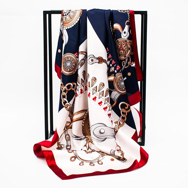 Summer Silk   Scarf   Women Patchwork Color Printed   Scarves   Foulard Luxury Designer Shawls   Wraps   90*90CM Square Head Hijab   Scarves
