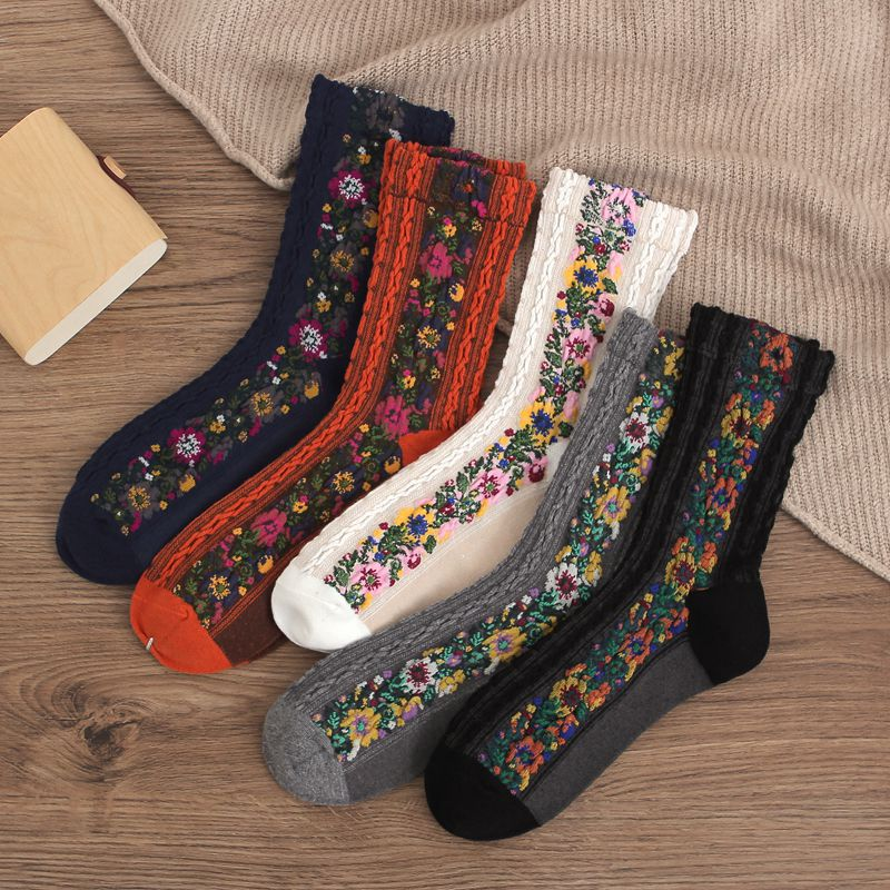 CA078 5 Pairs Vintage Funny Socks Cute Flower Print Women Socks Autumn Winter Thick Cotton Fabric Skarpetki All-match