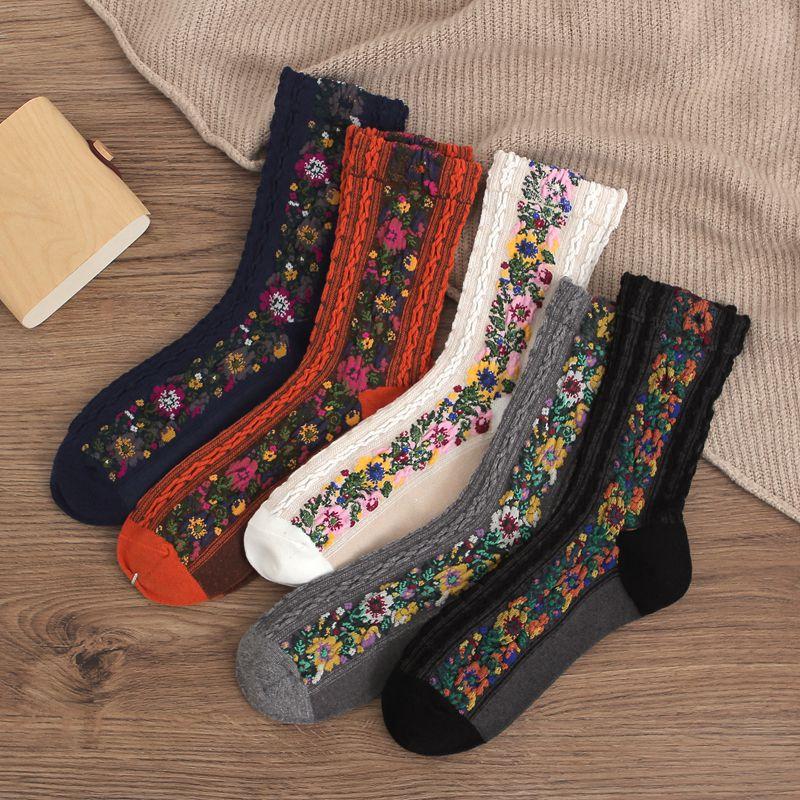 CA078 5 Pairs Vintage Funny Socks Cute Flower Print Women Socks Autumn Winter Thick Cotton Fabric Skarpetki All-match