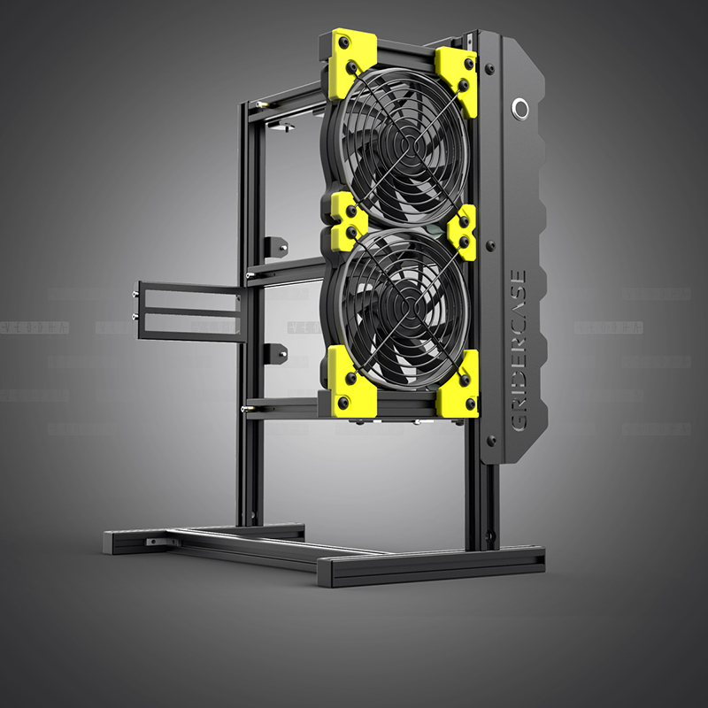 421*200*360mm DIY Open frame pc case Aluminum Personalized Vertical rack water cooling chassis atx gabinete computador 1