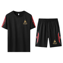 Summer men's two-piece sports T-shirt and pants, brand casual sports suits, fashionable cotton sportswear,