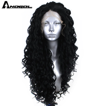 Anogol Black Synthetic Lace Front Wig Afro Long Kinky Curly Wig with Free Part for Women High Temperature Fiber