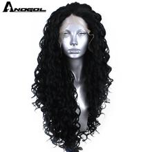 Anogol peluca con malla frontal Afro para mujer, peluca negra sintética, rizada, Largo rizado, parte libre, fibra de alta temperatura