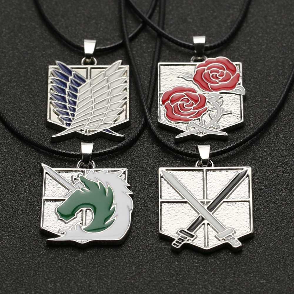 โจมตี Titan สร้อยคอ Wings Of Freedom Eren ลูกเสือ Stationary GUARD ตำรวจทหาร Trainee SQUAD จี้เครื่องประดับอะนิเมะ