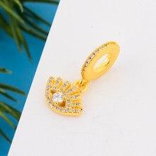 Ajuste original pandora charme pulseira 925 prata esterlina placa de ouro turquia mal olho zircão grânulo para fazer feminino berloque 2021