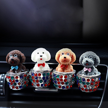 Car Ornament Cute Puppy Dog Auto Air Conditioner Outlet Decoration Perfume Clip Air Freshener Automo